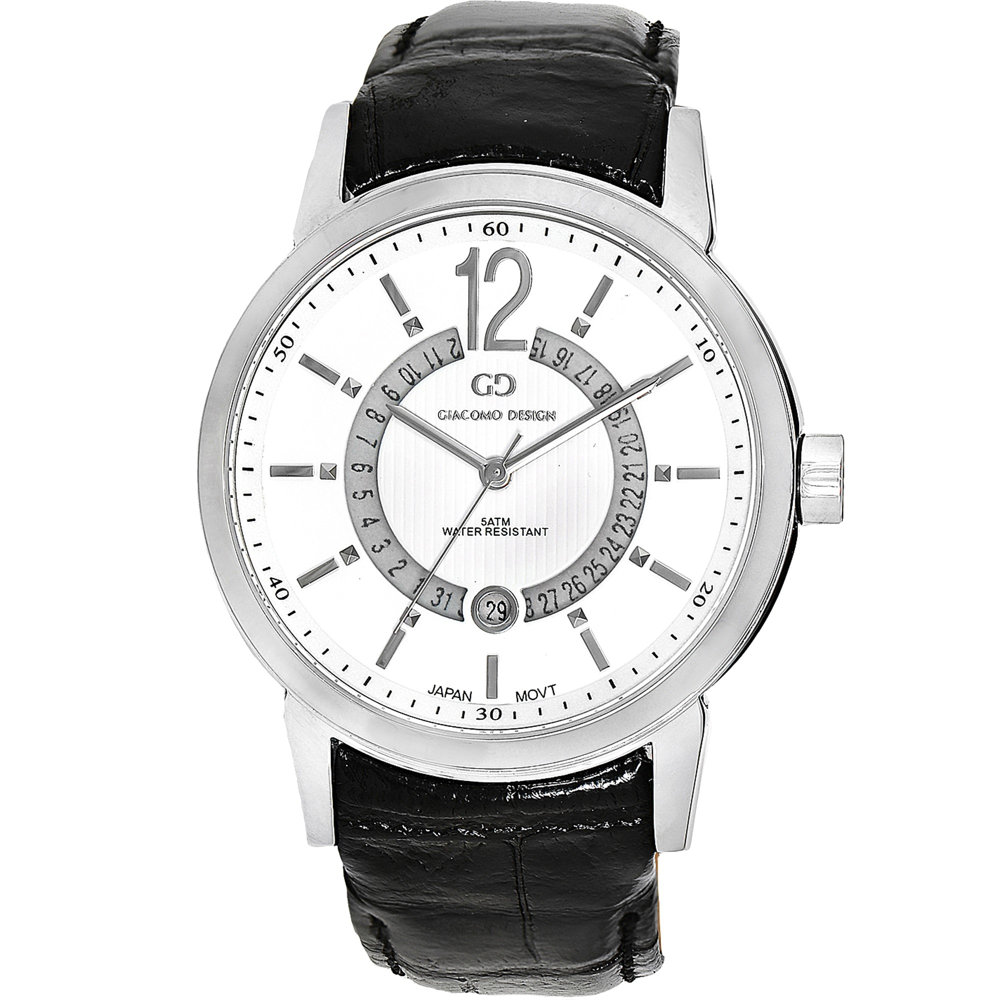 whiteblack giacomo calendario white leather design black watch watches