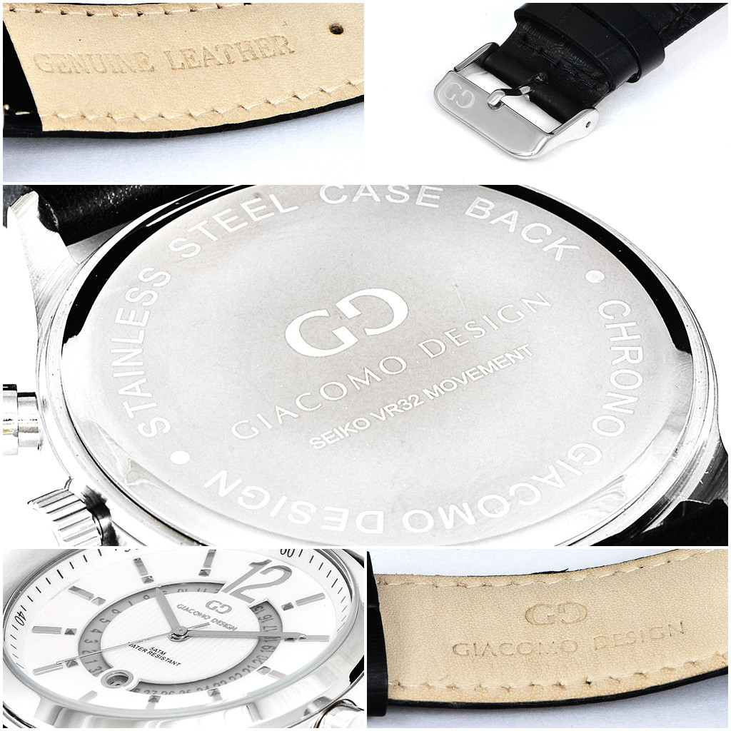 Elegant men's watch Giacomo Design GD05003 leather strap date