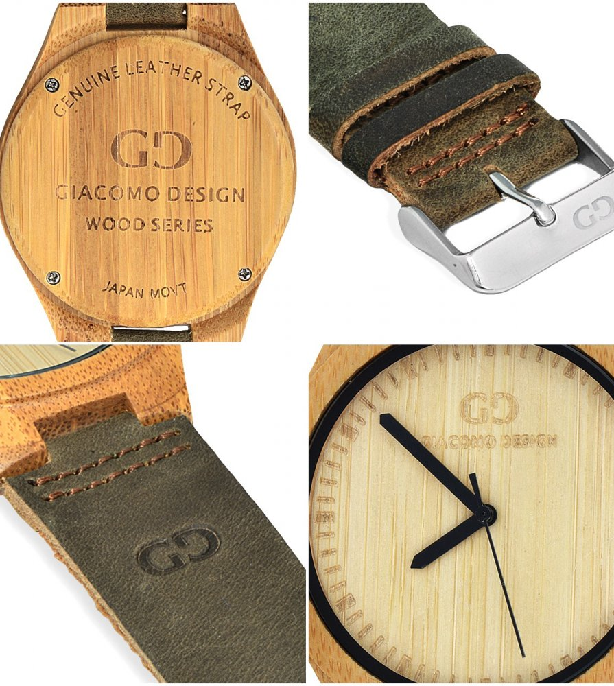 Men's watch Giacomo Design GD08001 bamboo wood leather strap
