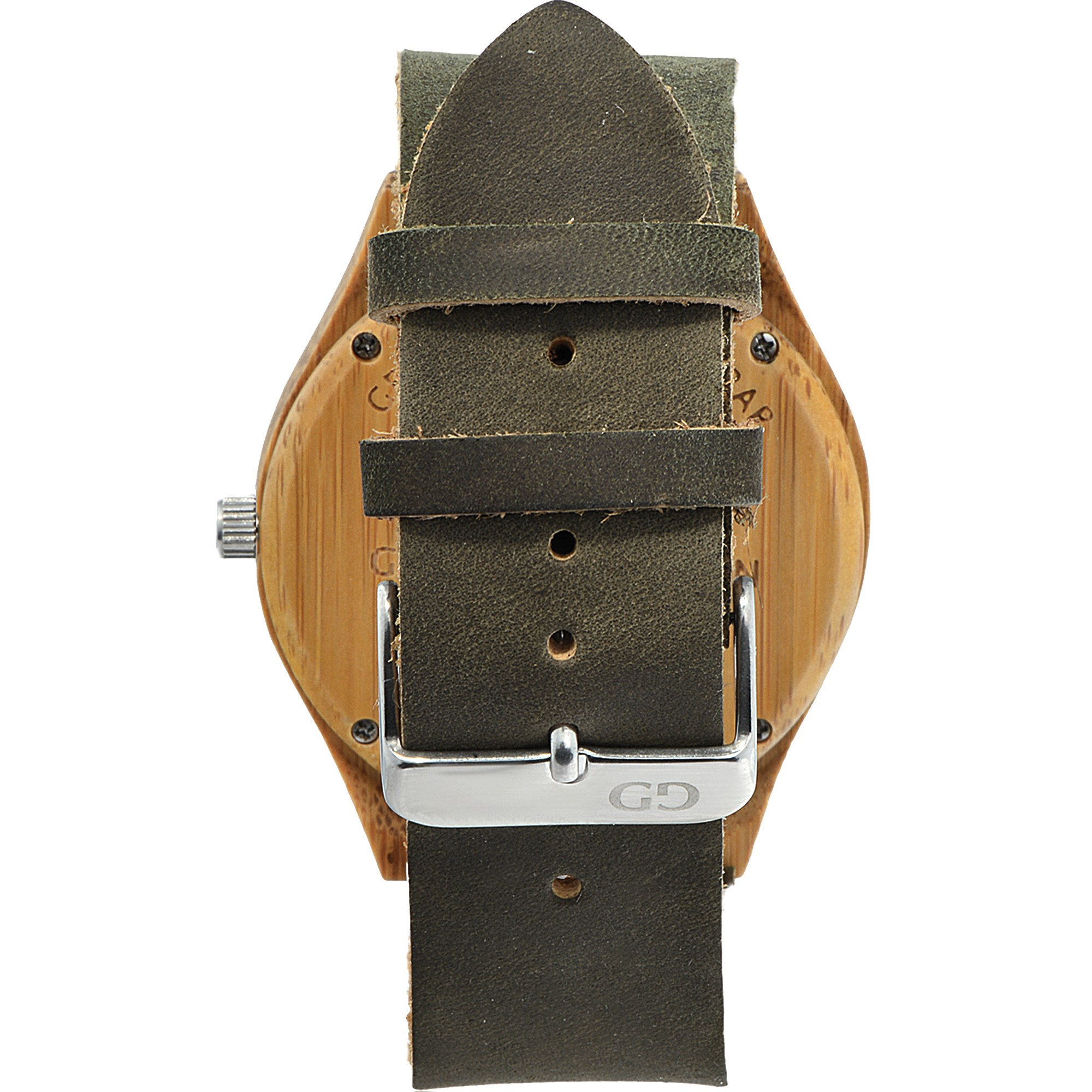 Men's watch Giacomo Design GD08003 bamboo wood leather strap