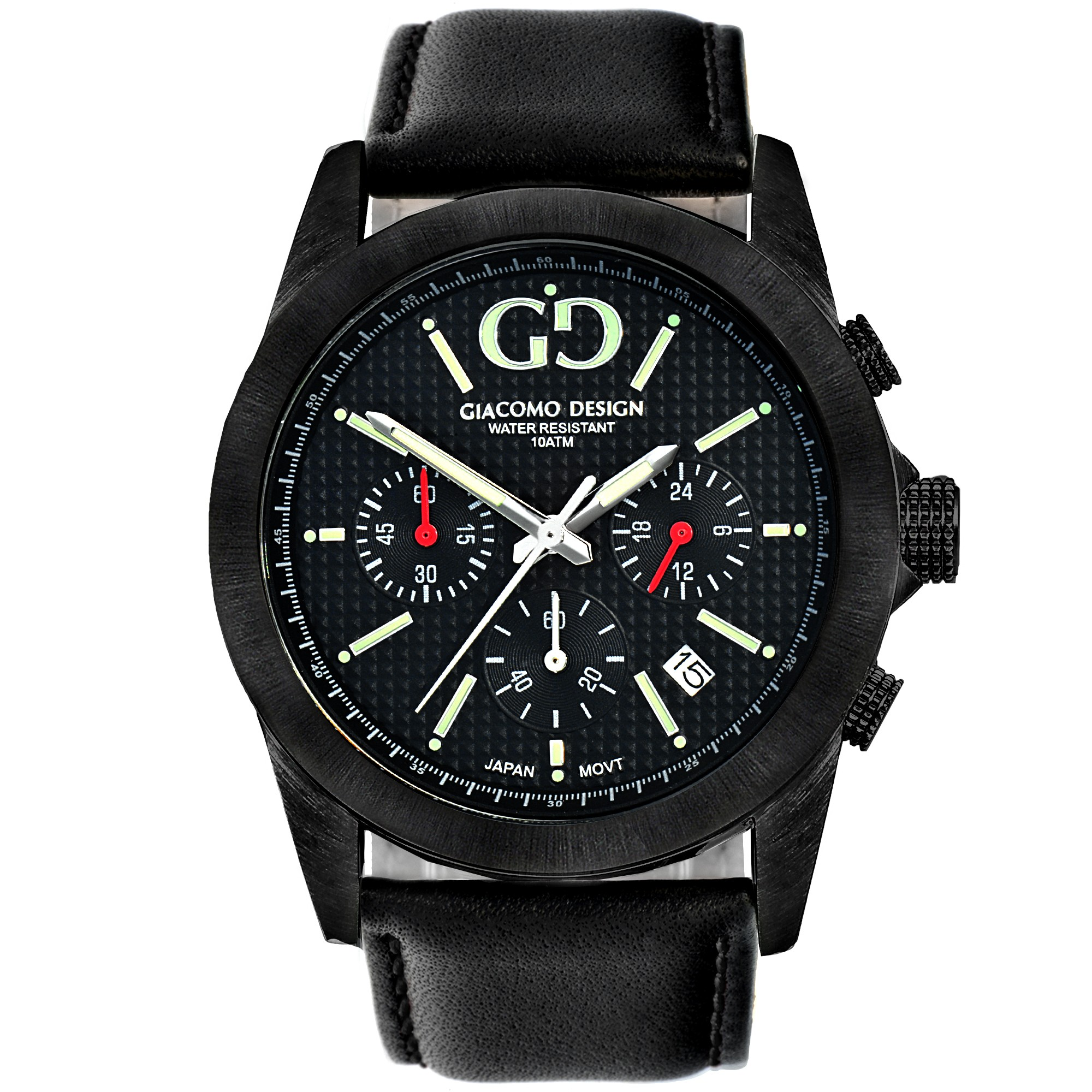 watch gents strap leather front black classic and watches grey dial aw