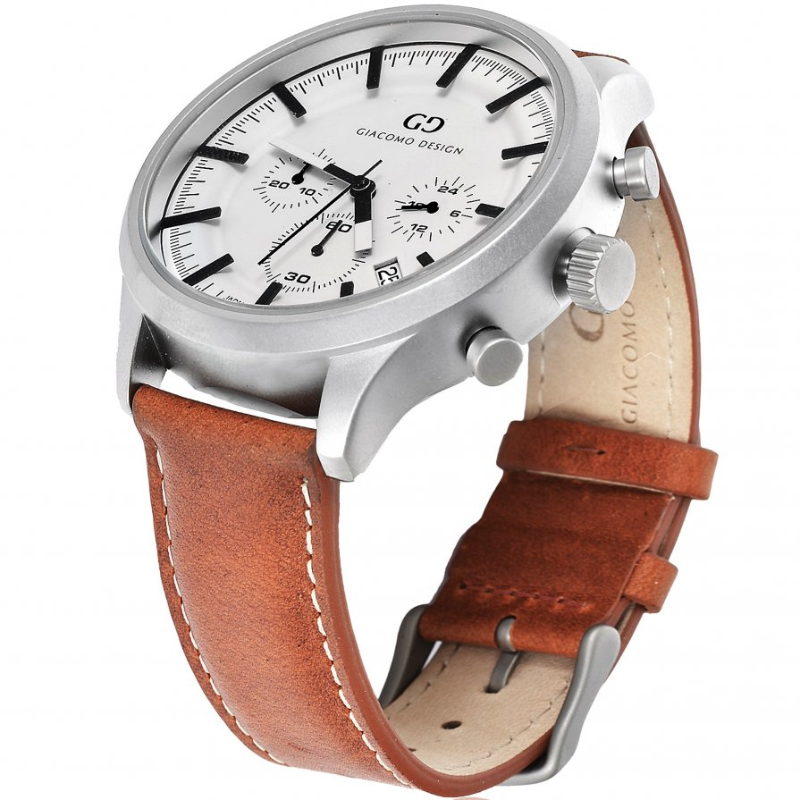 Giacomo Design Classico White/Brown Leather