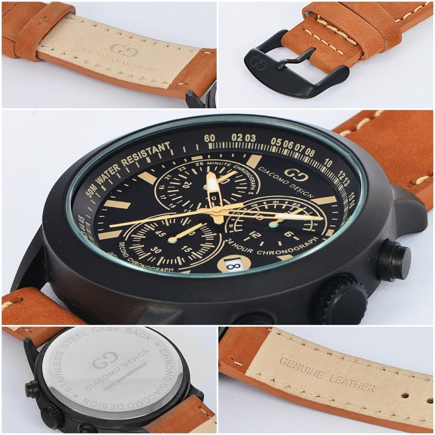 Elegant men's watch Giacomo Design GD02005 leather strap date chronograph