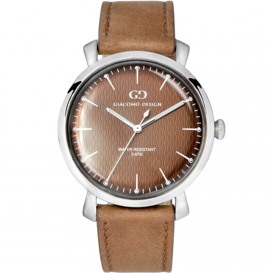 Elegant men's watch Giacomo Design GD9005 leather strap