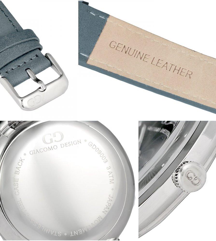 Elegant men's watch Giacomo Design GD9005 leather strap