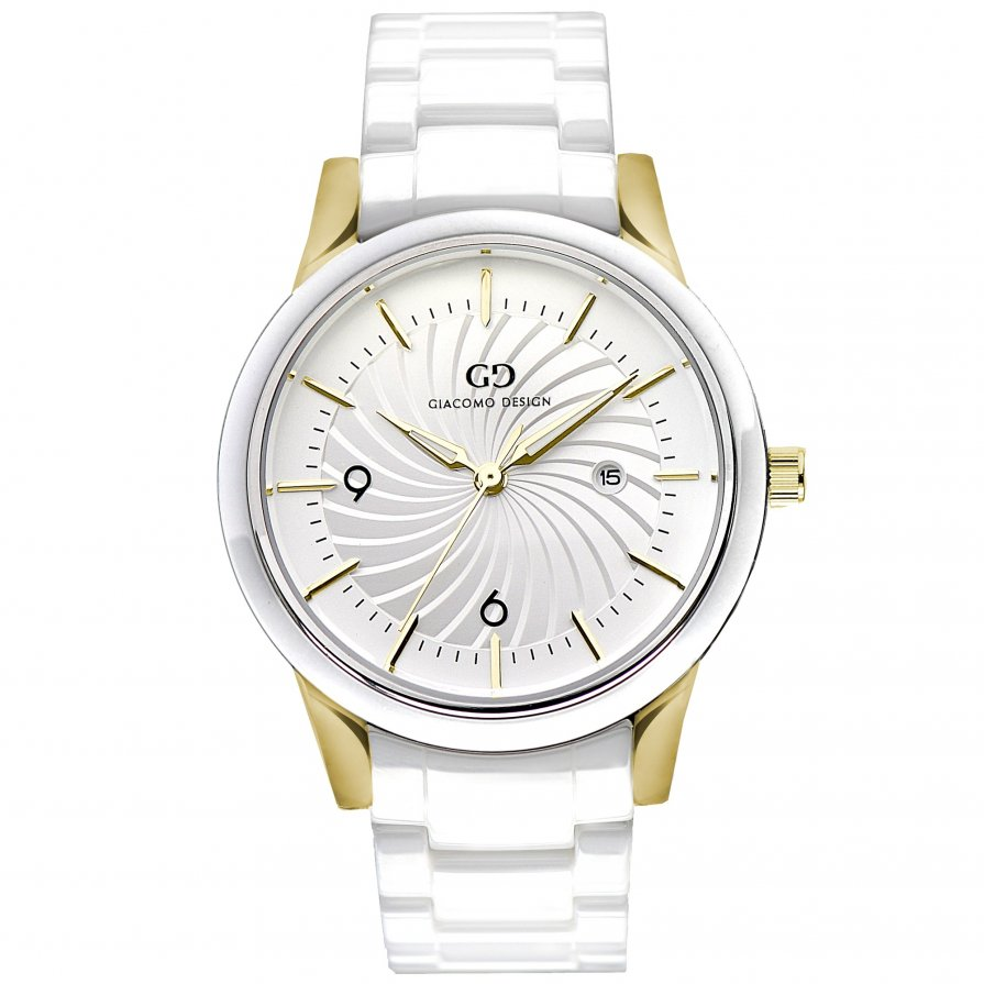 Giacomo Design watch Ceramica White/Gold