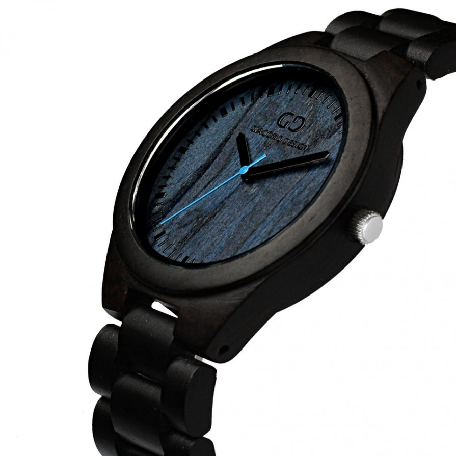 Giacomo Design wood watch Bellezza Semplice Ebony wood blue eye