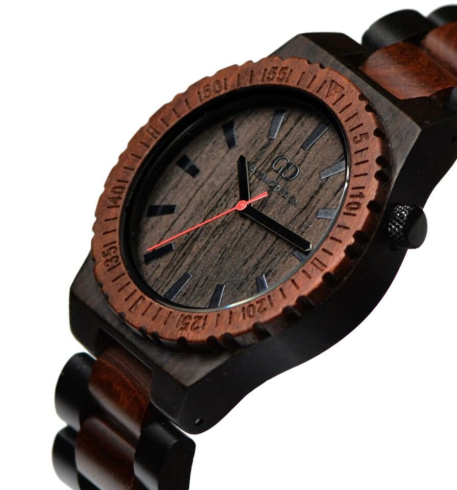 Giacomo Design wood watch Orologio Massiccio ebony wood red/black sandalwood