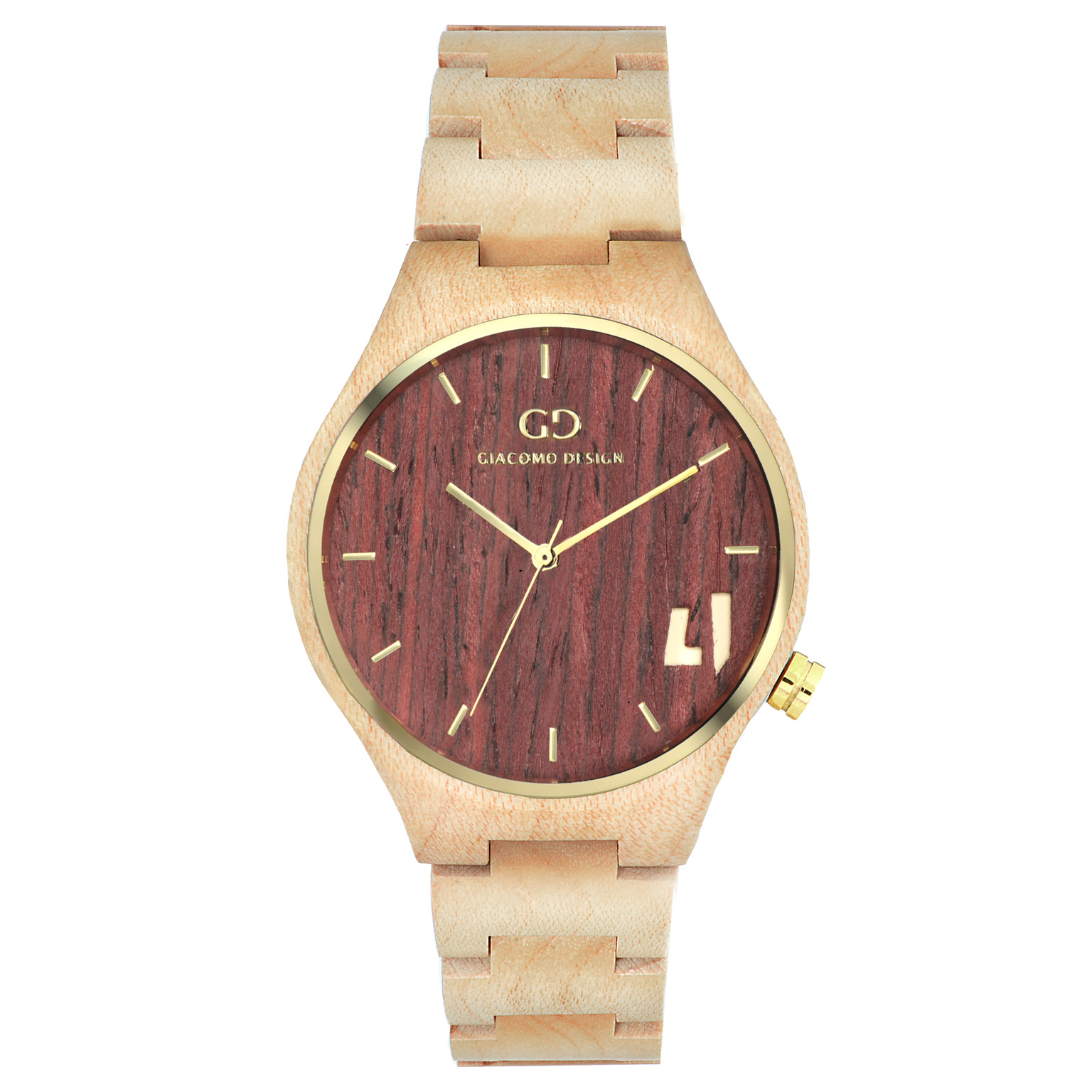 Giacomo Design wood watch Eccezionali Quattro maple wood