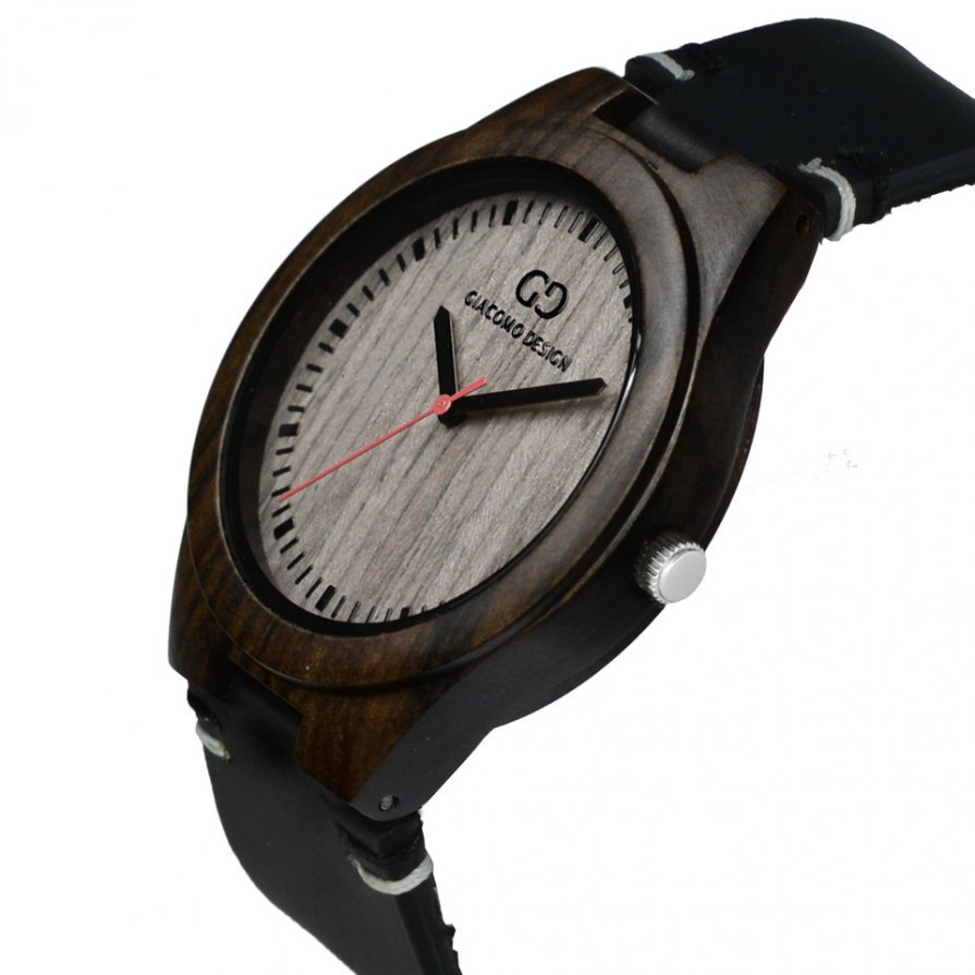 Men's wood watch Giacomo Design Legno Sul Bar sandalwod thick leather strap