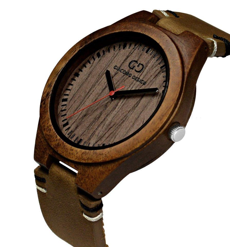 Men's wood watch Giacomo Design Legno Sul Bar koa wood thick leather strap