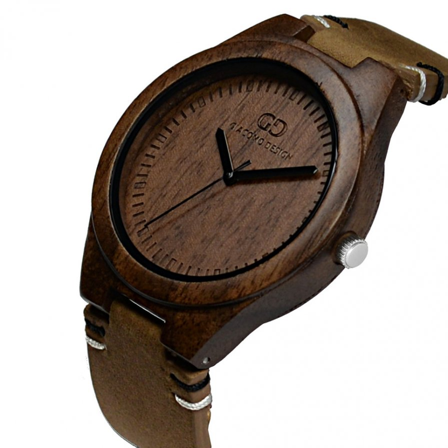 Men's wood watch Giacomo Design Legno Sul Bar koa wood thick leather strap