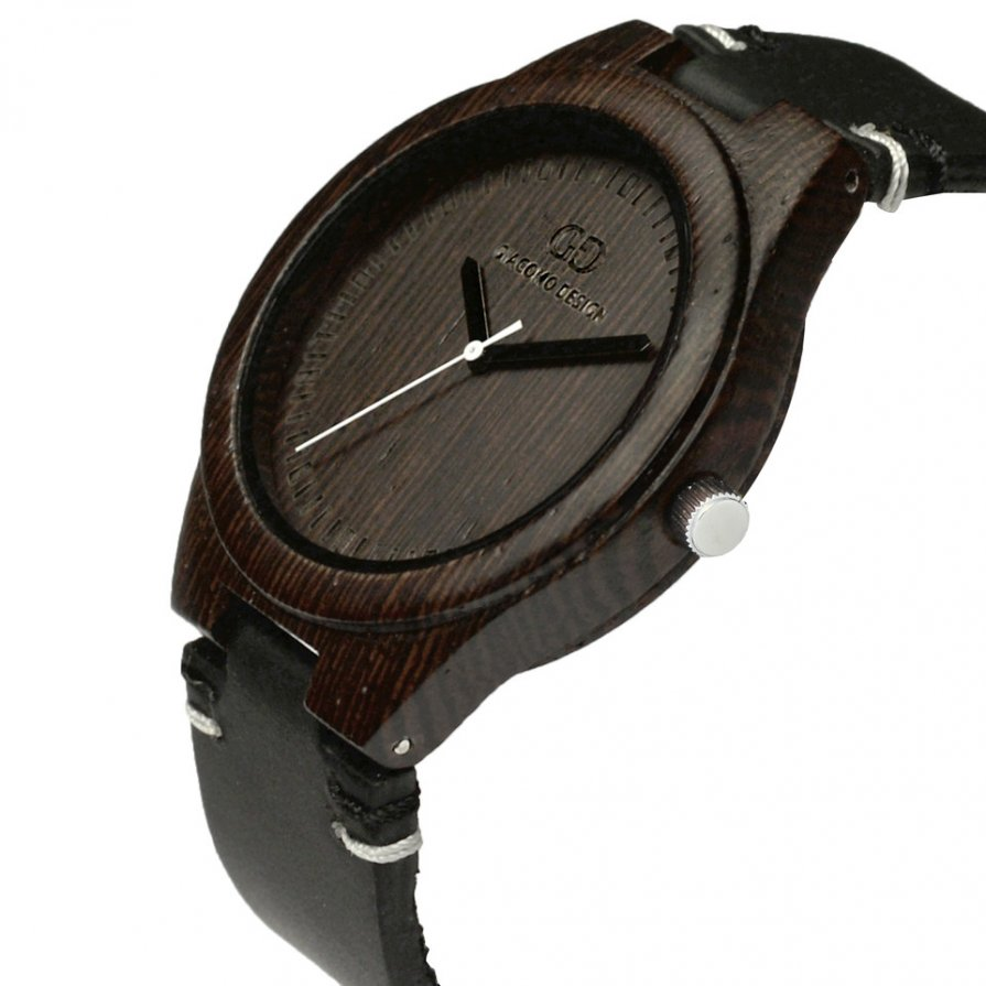 Men's watch Giacomo Design Legno Sul Bar duble wange thick leather strap