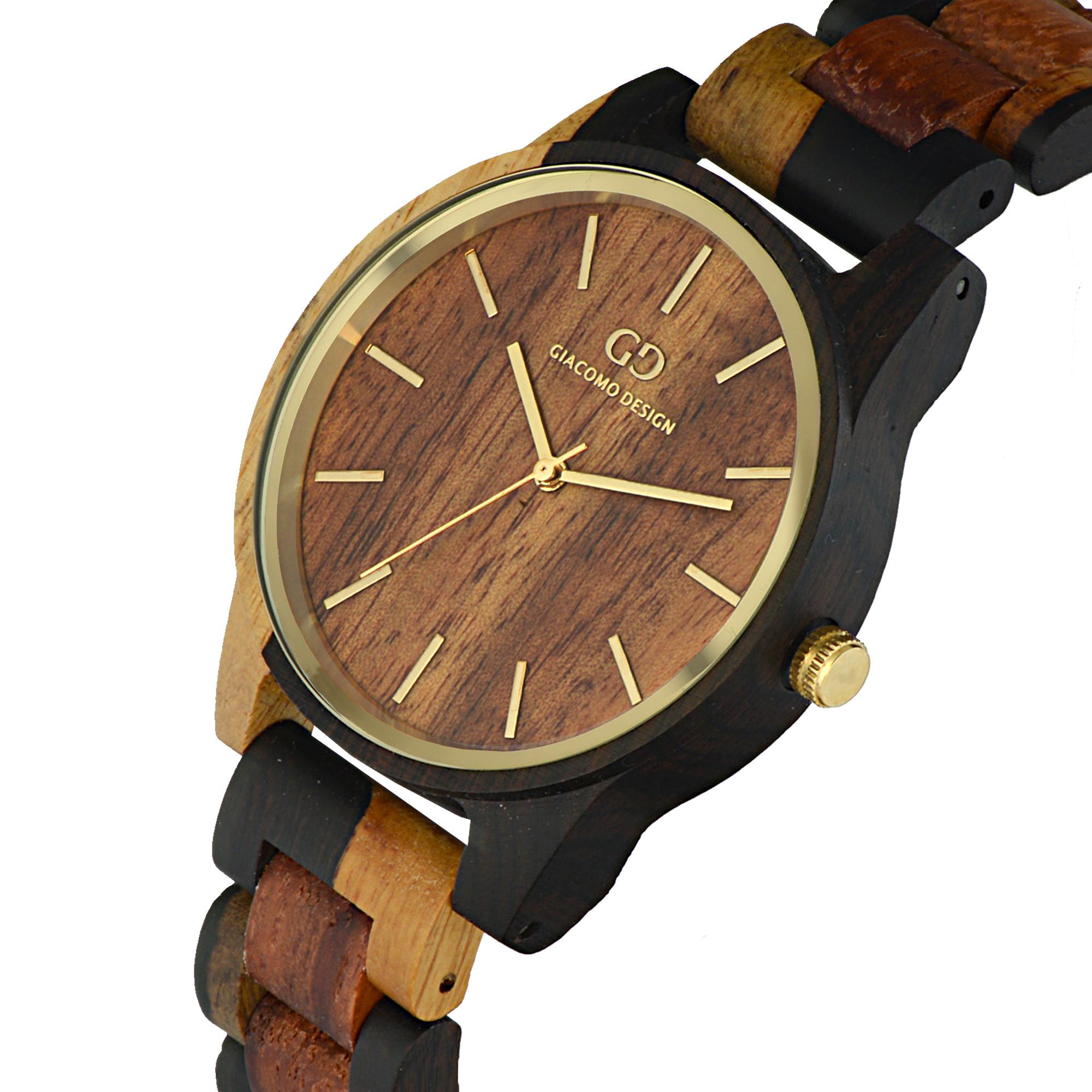 Giacomo Design wood watch Eleganza Semplice GD08205 rose/ sandal wood