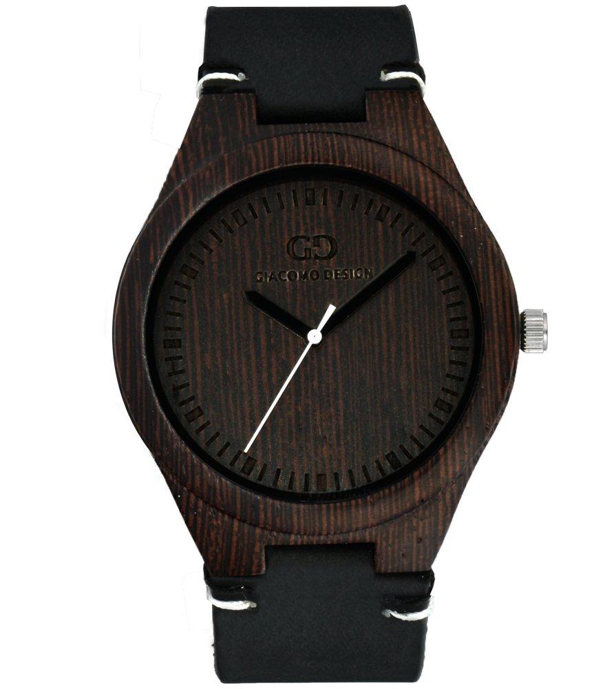 Men's watch Giacomo Design Legno Sul Bar duble wange thick leather strap