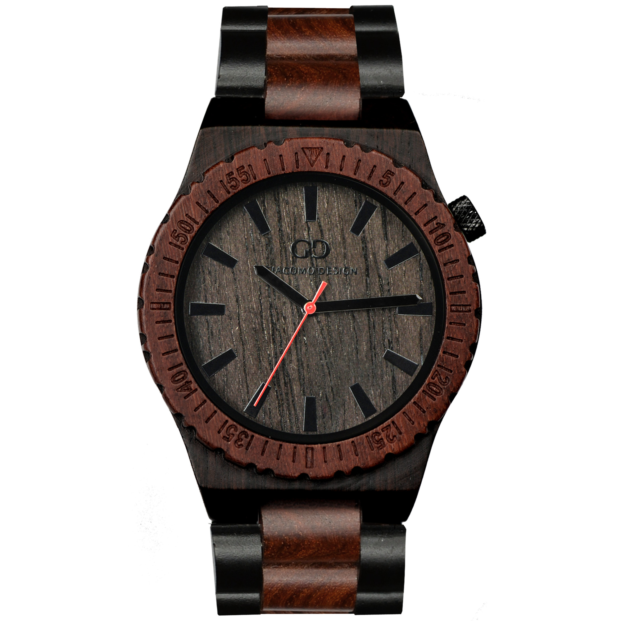leather genuine products watch redear sandalwood red men wooden popular wood natural clock watches luxury trendywoodentimepieces