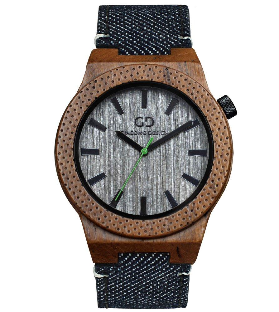 Men's wood watch Giacomo Design Orologio Massiccio teak wood