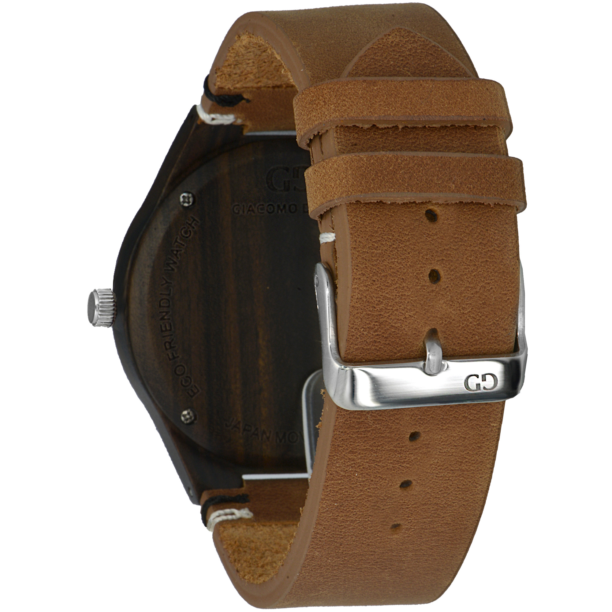 Men's watch Giacomo Design Legno Sul Bar walnutwood thick leather strap