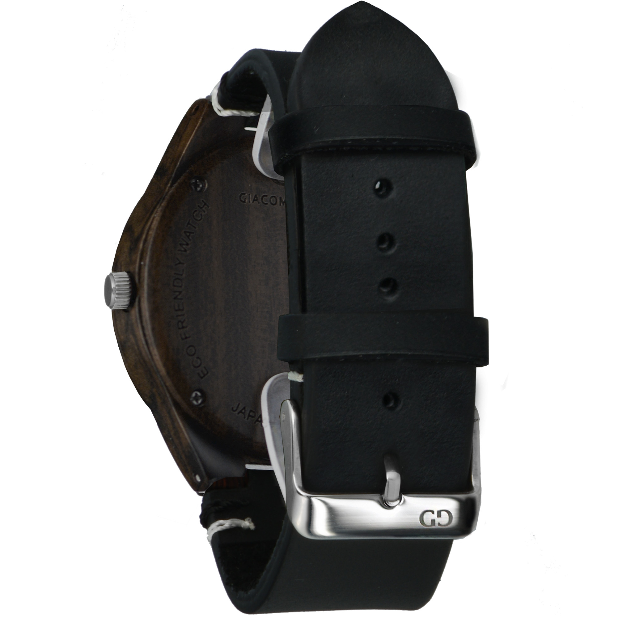 Men's wood watch Giacomo Design Legno Sul Bar sandalwod thick leather strap