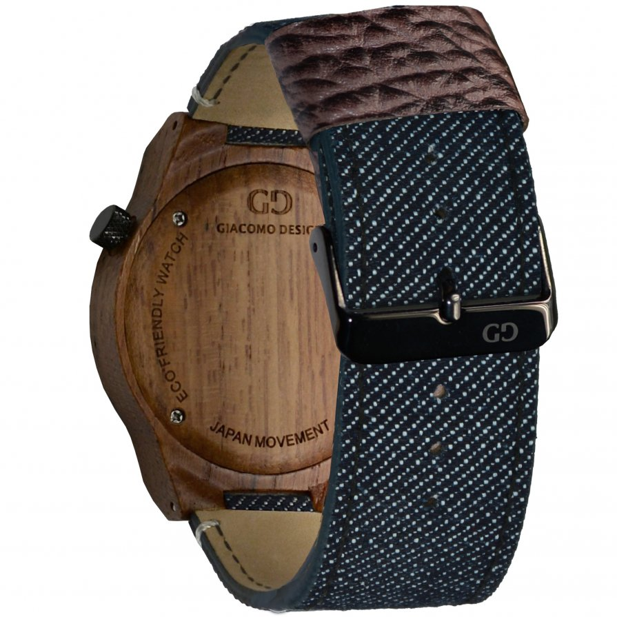 Men's wood watch Giacomo Design Orologio Massiccio teak wood